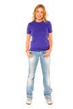 Donna che si leva in piedi con la mano in casella Fotografia Stock