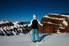Donna che si leva in piedi su una parte superiore della montagna Fotografie Stock