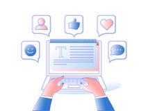 Donna che si siede alla tavola e che lavora con il computer portatile nelle reti sociali con i simboli sociali di media illustrazione vettoriale
