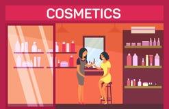Donna che si siede con il rossetto al negozio cosmetico illustrazione di stock