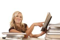 Donna che si siede con lo sguardo del punto dei libri Fotografie Stock Libere da Diritti