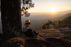 Donna che si siede nell'ambito della lettura e della scrittura del pino fotografia stock