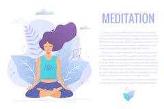 Donna che si siede nella meditazione di pratica di posizione di loto Illustrazione della ragazza di yoga royalty illustrazione gratis