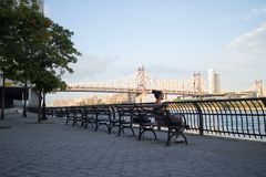 Donna che si siede su un banco in Sutton Place Park South dal East River in New York Fotografie Stock