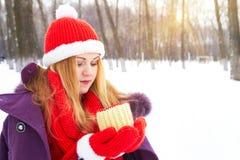 Donna che si siede sul banco nel parco della neve di inverno e caffè o tè caldo bevente fotografia stock