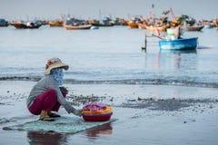 Donna che si siede sulla spiaggia di Mui Ne della spiaggia, Vietnam Immagini Stock