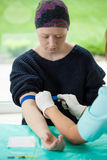 Donna che soffre dalla leucemia Fotografie Stock