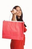 Donna che sta con il sacchetto della spesa Fotografie Stock