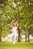 Donna che sta nella posa dell'albero Immagine Stock Libera da Diritti
