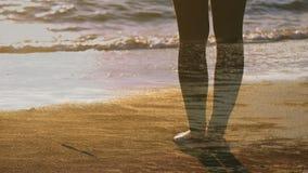Donna che sta a piedi nudi sulla spiaggia archivi video
