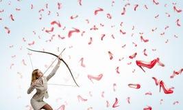 Donna che tende il suo scopo 3d rendono Immagine Stock Libera da Diritti