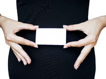 Donna che tiene biglietto da visita in bianco Fotografia Stock