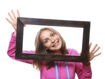 Donna che tiene blocco per grafici in bianco Fotografie Stock