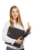 Donna che tiene cartella nera con i pollici su Fotografia Stock Libera da Diritti