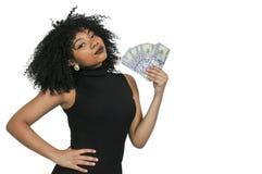 Donna che tiene 100 fatture del dollaro Fotografie Stock