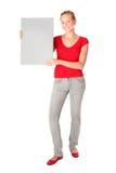 Donna che tiene scheda in bianco Fotografia Stock