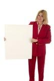 Donna che tiene segno in bianco 4 Immagine Stock Libera da Diritti