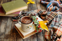 Donna che tiene tazza di cioccolata calda Cioccolata calda nel tabl di legno Fotografia Stock Libera da Diritti