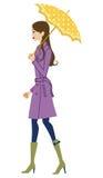 Donna che tiene un ombrello, vista laterale illustrazione di stock