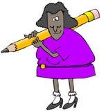 Donna che trasporta una matita gigante Immagini Stock