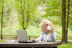 Donna che utilizza computer portatile nella sosta e nel bere Fotografie Stock Libere da Diritti