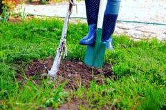 Donna che utilizza pala nel suo giardino Immagine Stock