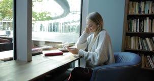 Donna che utilizza smartphone nella finestra anteriore archivi video