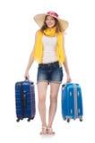 Donna che va alle vacanze estive Fotografie Stock Libere da Diritti