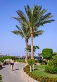Donna che vacationing in una località di soggiorno tropicale Immagini Stock