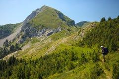 Donna che viaggia in montagne Fotografia Stock