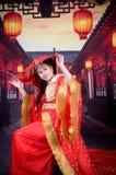 Donna cinese con il velo nuziale Fotografia Stock