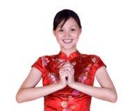 Donna cinese in costume orientale fotografia stock libera da diritti