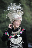 Donna cinese di nazionalità di Miao Fotografie Stock