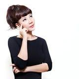 Donna cinese preoccupata nei pensieri contemplativi Fotografia Stock Libera da Diritti