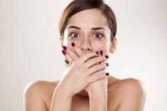 Donna colpita Immagini Stock