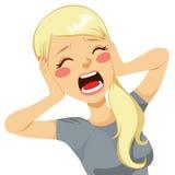 Donna colpita che grida Immagine Stock