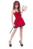 Donna come diavolo rosso Fotografie Stock