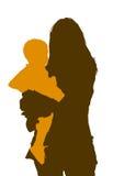 Donna con bambino-siluette Fotografia Stock