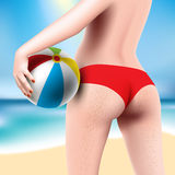 Donna con beach ball Fotografia Stock