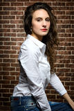 Donna con bei capelli Fotografie Stock