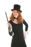 Donna con black hat per il partito fotografie stock