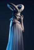 Donna con body art della capra Immagine Stock Libera da Diritti