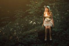 Donna con capelli biondi che si siedono su un albero nella foresta Beautifu Fotografia Stock Libera da Diritti