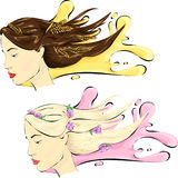Donna con capelli healshy illustrazione di stock