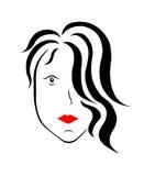 Donna con capelli neri Fotografia Stock Libera da Diritti