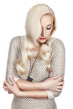 Donna con capelli ondulati Immagini Stock