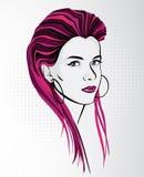 Donna con capelli pazzeschi lunghi Fotografia Stock Libera da Diritti