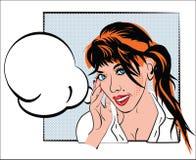 Donna con capelli rossi, acconciatura, in camicia bianca, nello stile d'annata sui precedenti del telaio e nel fumetto Progettazi Immagini Stock Libere da Diritti