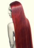 Donna con capelli rossi lunghi Fotografie Stock Libere da Diritti