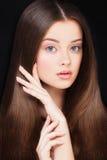 Donna con capelli sani Concetto di Skincare e di Haircare fotografia stock libera da diritti